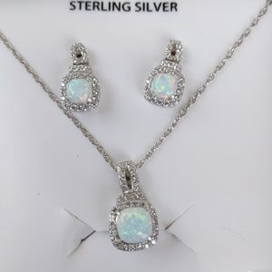 Sterling Silver CZ & Opal Earrings & Necklace Set
